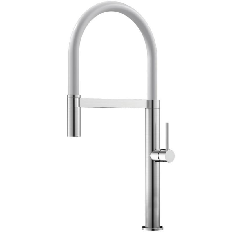 不锈钢 厨房水龙头 可拉出式软管 / 拉丝/白色 - Nivito SH-300